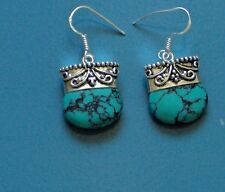 """AMAZING TURQUOISE ETRUSCAN STYLE SOLID 925 SILVER 1.5"""" DROP EARRINGS, WOWWW!"""