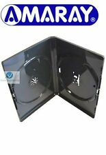 25 Double Black DVD Case 14 mm Spine New Replacement Cover Holds 2 Disks Amaray
