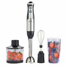 VonShef 3-in-1 Hand Blender + FREE Food Processor Mixer Bowl, Egg Whisk & Beaker