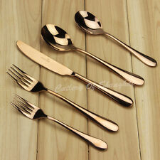 60 Pieces Stainless Steel Rose Gold Cutlery Dinnerware Set With Dessert Forks