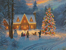 LED Lighted~Christmas Tree Log Cabin Wall Canvas Picture Decor