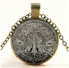 Vintage Celtic Silver Wolf Tree Of life Glass Cabochon Bronze Chain Necklace#339