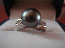 MIKIMOTO BLACK SOUTH SEA PEARL DIAMOND RING 18KT BEZEL SET 6.5 SIZABLE NEW