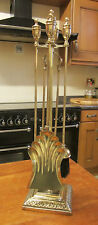 Old Tall Anitque Edwardian Style Brass Fireside Companion Set Stand and 4 Tools