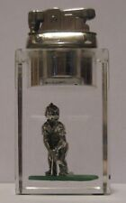 Vintage Mid Century Clearfloat Lucite Table Lighter Brass Finish 1950's Golfer
