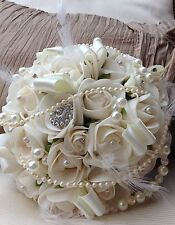 IVORY ROSES WEDDING FLOWERS BOUQUET VINTAGE INSPIRED PEARLS BROOCH BRIDE FEATHER