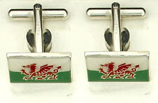 Silver Welsh Dragon Flag Cufflinks Made To Order in Jewellery Quarter B'ham