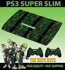 PLAYSTATION PS3 SUPER SLIM MATRIX CODE SYSTEM FAILURE SKIN STICKER & 2 PAD SKINS