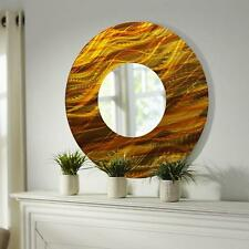 Gold/Amber Abstract Large Round Metal Wall Art Mirror Decor Accent by Jon Allen