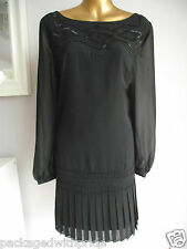MONSOON BLACK BEADED PLEATED HEM PARTY EVENING CRUISE OCCASION TUNIC DRESS 22