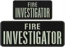 Fire Investigator embroidery patches 4x10 and 3x6 hook silver