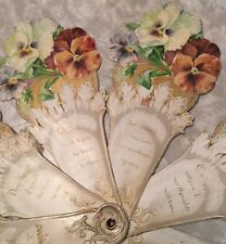 Rare Antique Valentine Mechanical Fan Style Pansies Old and Fabulous