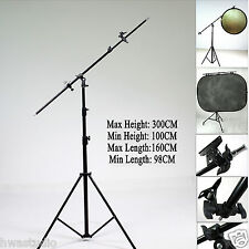 PRO Reflector Holder boom Arm 300cm SOLID Stand W160CM Boom arm grip head