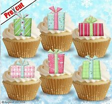PRE-CUT CHRISTMAS PRESENTS EDIBLE WAFER PAPER CUP CAKE TOPPERS DECORATIONS