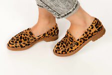 Diseñador Estampado de Leopardo Pony Cabello Ped Der Rojo Cubierta Mocasines Zapatos Talla 7