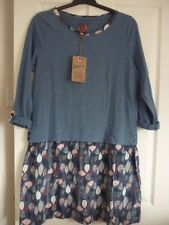 MANTARAY BLUE LEAF PRINT SKIRT JERSEY DRESS. UK 18, EUR 44-46, US 14. BNWT