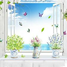 Home Kitchen Glass Bathroom Decor Potted Flower Pot Butterfly DIY Wall Stickers