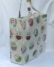 Handmade Quality Oilcloth Shopping Tote bag with zip pocket - Fun Owls