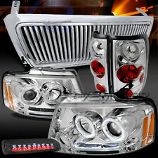 04-08 F150 LED Chrome Projector Headlights+Tail+LED Smoke 3rd Brake Light+Grille