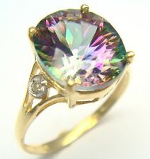 10KT YELLOW GOLD 4CT MYSTIC TOPAZ & DIAMOND RING SIZE 7   R930