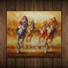 LARGE ANTHONY VECCHIO REPRO OIL PAINTING HAND PAINTED, HORSES RACING (NO FRAME)