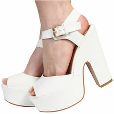 NEW LADIES PLATFORM HIGH CHUNKY HEEL PEEP TOE ANKLE STRAP SANDALS SHOES SIZE 3-8
