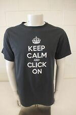 Jerzees Invincea Keep Calm and Click On Gray Graphic T-Shirt Men's Large GREAT