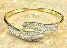 """VICTORIA WIECK ABSOLUTE TWISTED HINGED CUFF S/M 7"""" VERMEIL BRACELET HSN $299"""