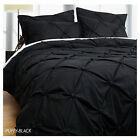 3 Pce PUFFY Black Ruched Soft Feel Quilt Doona Duvet Cover Set SUPER KING
