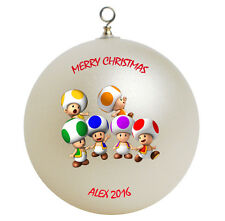 Personalized Custom Super Mario Toads Christmas Ornament Gift Add Childs Name