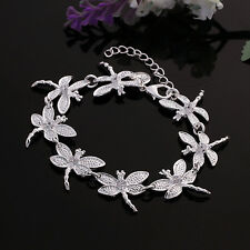 925 Silver Plated Dragonfly Bracelet Bangle Women Fashion Jewelry***UK Seller***