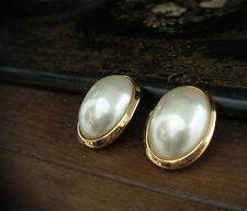 Vintage Large Oval Pearl Cabouchon Gold Plated Clip-On Earrings