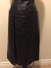 Wanda Nylon Crinkle Faux Vegan Leather Pencil Skirt Slit Sz M
