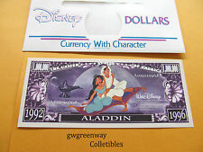 DISNEY NOVELTY DOLLAR *  ALADDIN * 1992-1996 + DISNEY DOLLAR ENVELOPE