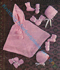 Knitting Pattern - Babies Poncho, 2 Designs of Hats, Mitts & Booties 0-6M PO050