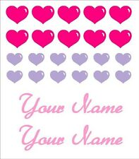 Bike Frame Heart & Name Vinyl Decal Set Custom Made to Order Personalized
