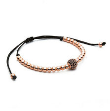 Mens Woman's Rose Gold Diamond Ball Macrame Beaded Bracelets Handmade Gift