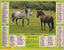 CALENDRIER ALMANACH des postes PTT 1993 chevaux