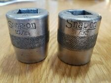 "1929 SNAP-ON UNDERLINED 15/16"" AND 31/32"" 5/8"" DRIVE LOT OF 2 VINTAGE SOCKETS B6"