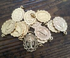 Vintage Religious Miraculous Virgin Mary Scalloped Oval Ornate French Medal NOS
