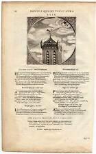 Emblemata-Kupferstich um 1650 Wetterhahn-Putte-Wind