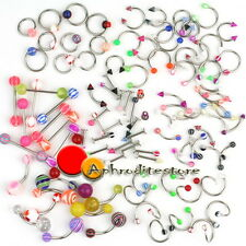 100x Piercing Lingua Ombelico Labret Labbro Mix in Acciaio Inossidabile Body Art