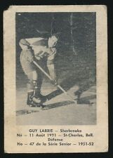 1951-52 Laval Dairy (QSHL) #47 Guy Labrie (Sherbrooke) -Bruins