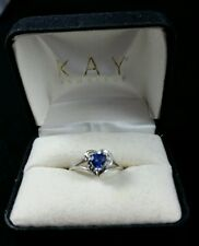 Kay Jewelers 10k White Gold Heart Sapphire Ring Size 6