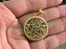 New Pentagram Pendant Amulet Gold Stainless Steel Magic Gothic with Rope Chain