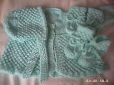 Hand Knitted Green Baby Coat/Cardigan, Hat, Bootees And Mittens Size 0-3 Months.