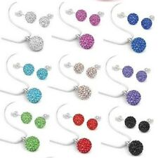 20set/lot 10mm mixed chain crystal shamballa set stud earring necklace pendant
