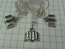 "TIBETAN SILVER ""OPEN READING BOOK""SET PENDANT EARRINGS 18or20"" NECKLACE SILV PLT"