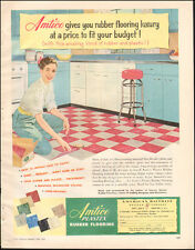 1953 Vintage AD AMTICO PLASTEX Rubber Flooring ART 50s Kitchen  013116