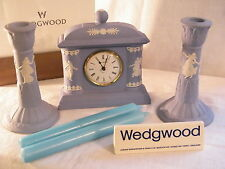 "Wedgwood "" Jasper Ware "" Dancing Hours Clock & matching Candlesticks + Candles !"